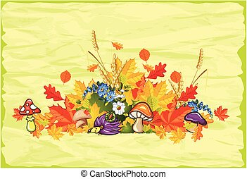 Autumn impression - autumn composition with leaves, flowers...