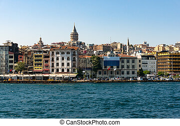 Istanbul Beyoglu district cityscape and famous landmark...