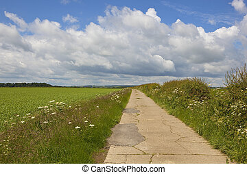 yorkshire wolds bridleway - a cracked concrete section of a...
