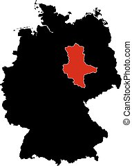 Map - Germany, Saxony-Anhalt - Map of Germany in black,...