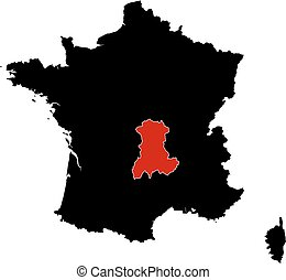 Map - France, Auvergne - Map of France in black, Auvergne is...