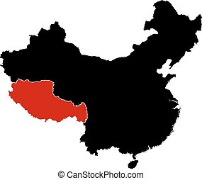 Map - China, Tibet - Map of China in black, Tibet is...
