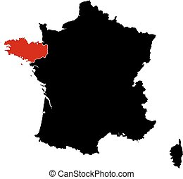 Map - France, Brittany - Map of France in black, Brittany is...