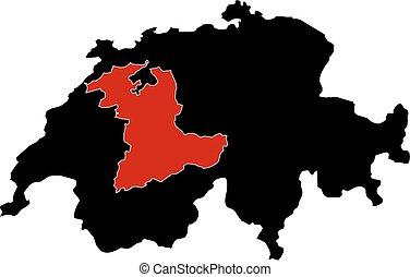 Map - Swizerland, Bern - Map of Swizerland in black, Bern is...
