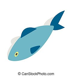 Fish icon, isometric 3d style - Fish icon in isometric 3d...