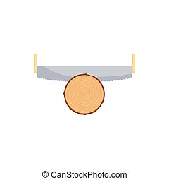 Saw cuts log icon, cartoon style - Saw cuts log icon in...