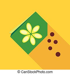 Paper bag with flower seeds icon in flat style on a yellow...