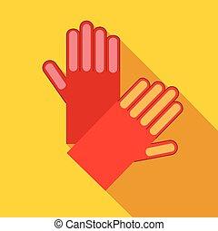 Red garden gloves icon, flat style - Red garden gloves icon...
