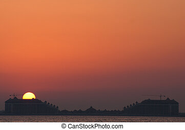 Sunset Dubai - Beautiful sunset in the jumeirah beach of...