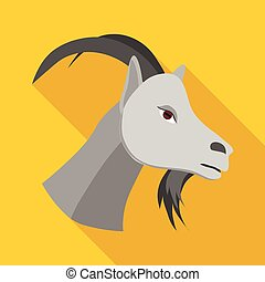 Head of goat icon, flat style - Head of goat icon in flat...