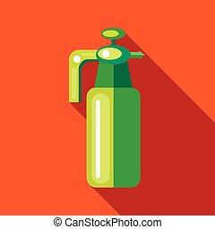 Pressure garden sprayer bottle icon, flat style - Pressure...