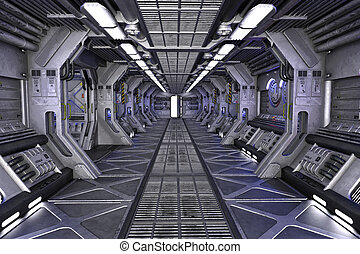 Sci-Fi interior design - Sci-Fi corridor interior design 3d...