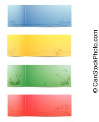 Colourful nature cards - Four vector colourful nature cards
