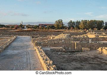 夕方, ライト, 公園,  paphos, 考古学的, 太陽, キプロス