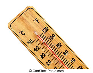 celsius fahrenheit thermometer - close wooden celsius...