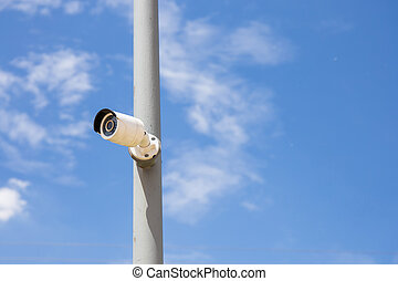 Security Day & Night IP cameras for the safety with blue sky...