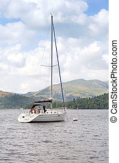 Yacht moored on Lake Windermere, Cumbria