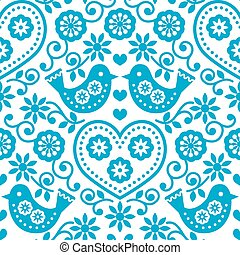 Folk art seamless blue pattern - Repetitive background -...