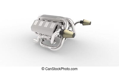 Automotive v8 engine with a turbocharger. Object on white...