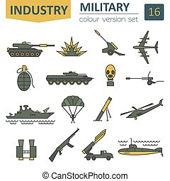 Military icon set. Thin line design. Vector illustration