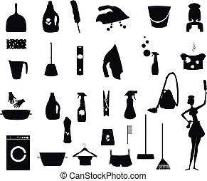 Laundry and Washing black icons set - Laundry icon. Washing...