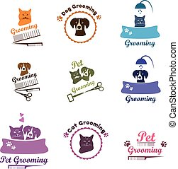 Pet grooming logo set