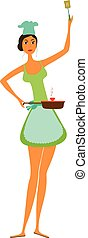 Cartoon woman cooking isolated.