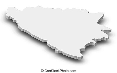 Map - Bosnia and Herzegovina - 3D-Illustration - Map of...