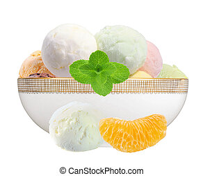 Scoop of fruit ice cream with mint herb in plate and orange slice isolated on white background