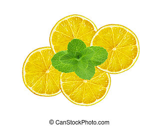 fresh slices lemon with leaf mint isolated on white