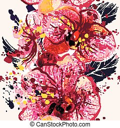 Beautiful seamless pattern with orchid  flowers in watercolor style painted by spots.eps