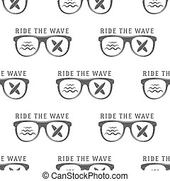 Vector Surfing Seamless pattern with  glass. Board for , surf waves elements.  wallpaper printing design. Surfboards. Summer print, background texture.  the wave text