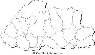 Map - Bhutan - Map of Bhutan, contous as a black line.