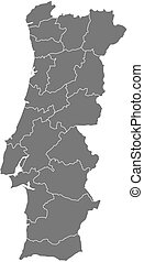 Map - Portugal - Map of Portugal as a dark area