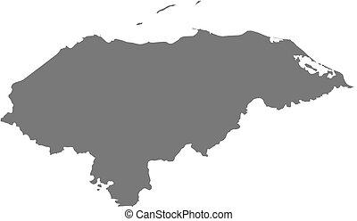 Map - Honduras - Map of Honduras as a dark area