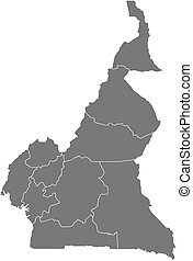 Map - Cameroon - Map of Cameroon as a dark area