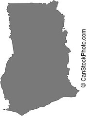 Map - Ghana - Map of Ghana as a dark area
