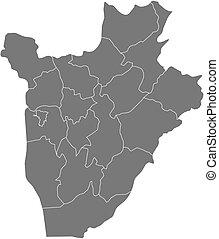 Map - Burundi - Map of Burundi as a dark area