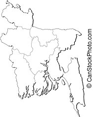 Map - Bangladesh - Map of Bangladesh, contous as a black...