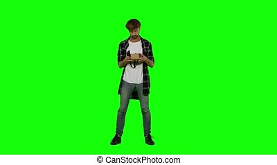 Virtual reality googles. Green screen - Virtual reality...