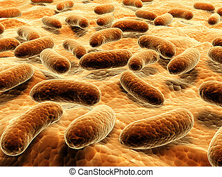 Pathogen bacteria on the surface.  3d render