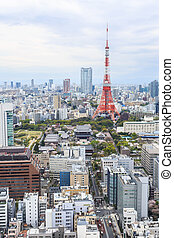 Tokyo Tower cityscape Japan - Aerial view Tokyo Tower...