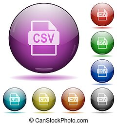 CSV file format glass sphere buttons - Set of color CSV file...