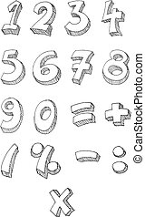 Numbers hand written - Hand drawn vector numbers