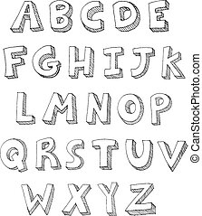 Letters hand written - Hand drawn vector ABC letters