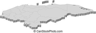 -, mapa,  3d-illustration,  honduras