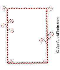Candycane Border Isolated on White - Whimsical Christmas...