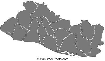 Map - El Salvador - Map of El Salvador as a dark area