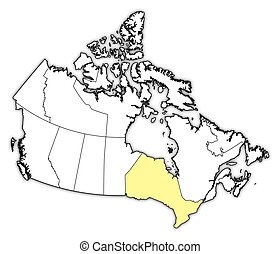 Map - Canada, Ontario - Map of Canada with the provinces,...