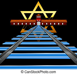 Star of David - The golden Star of David and the main...
